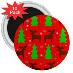 Reindeer and Xmas trees pattern 3  Magnets (10 pack)