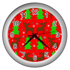 Reindeer and Xmas trees pattern Wall Clocks (Silver)