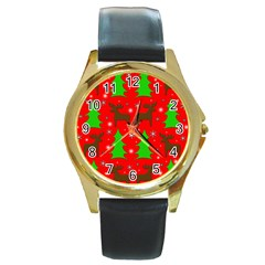 Reindeer and Xmas trees pattern Round Gold Metal Watch