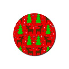 Reindeer and Xmas trees pattern Rubber Round Coaster (4 pack)