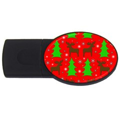 Reindeer and Xmas trees pattern USB Flash Drive Oval (1 GB)