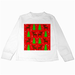 Reindeer and Xmas trees pattern Kids Long Sleeve T-Shirts