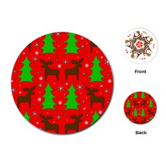 Reindeer and Xmas trees pattern Playing Cards (Round)
