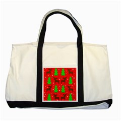 Reindeer and Xmas trees pattern Two Tone Tote Bag