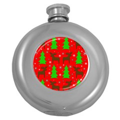 Reindeer and Xmas trees pattern Round Hip Flask (5 oz)