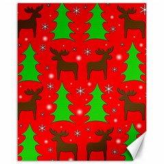 Reindeer and Xmas trees pattern Canvas 16  x 20
