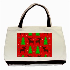Reindeer and Xmas trees pattern Basic Tote Bag (Two Sides)
