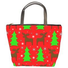 Reindeer and Xmas trees pattern Bucket Bags