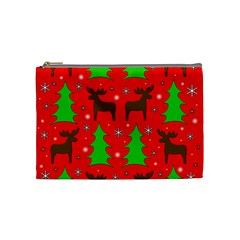 Reindeer and Xmas trees pattern Cosmetic Bag (Medium)