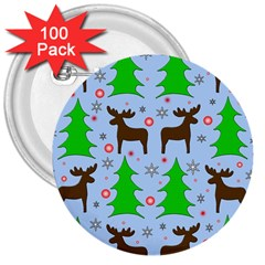 Reindeer and Xmas trees  3  Buttons (100 pack)