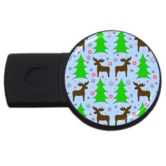 Reindeer and Xmas trees  USB Flash Drive Round (2 GB)