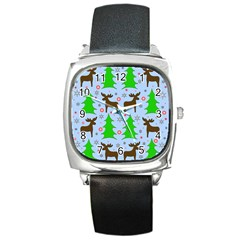 Reindeer and Xmas trees  Square Metal Watch