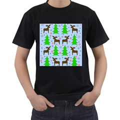 Reindeer and Xmas trees  Men s T-Shirt (Black) (Two Sided)