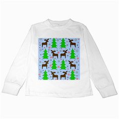 Reindeer and Xmas trees  Kids Long Sleeve T-Shirts