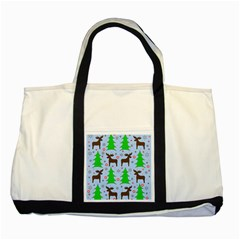 Reindeer and Xmas trees  Two Tone Tote Bag
