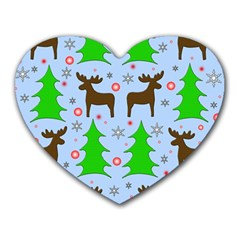 Reindeer and Xmas trees  Heart Mousepads