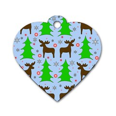 Reindeer and Xmas trees  Dog Tag Heart (Two Sides)