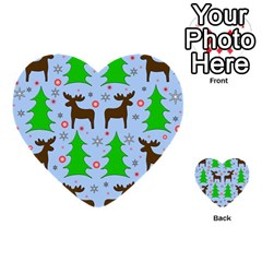 Reindeer and Xmas trees  Multi-purpose Cards (Heart)