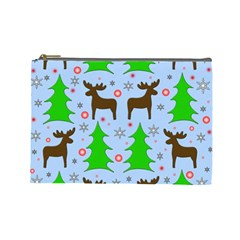 Reindeer and Xmas trees  Cosmetic Bag (Large)