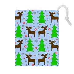 Reindeer and Xmas trees  Drawstring Pouches (Extra Large)