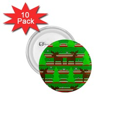 Christmas trees and reindeer pattern 1.75  Buttons (10 pack)
