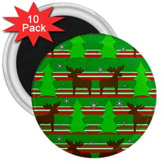 Christmas trees and reindeer pattern 3  Magnets (10 pack)