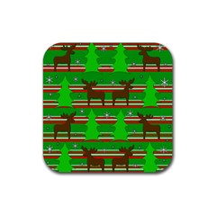Christmas trees and reindeer pattern Rubber Coaster (Square)