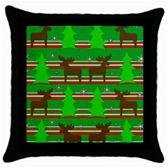 Christmas trees and reindeer pattern Throw Pillow Case (Black)