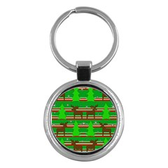 Christmas trees and reindeer pattern Key Chains (Round)