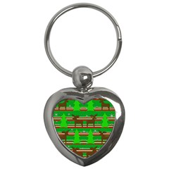Christmas trees and reindeer pattern Key Chains (Heart)