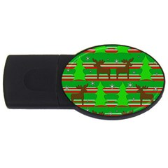 Christmas trees and reindeer pattern USB Flash Drive Oval (4 GB)