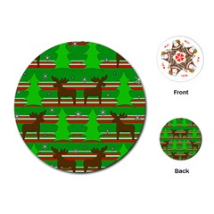 Christmas trees and reindeer pattern Playing Cards (Round)