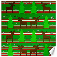 Christmas trees and reindeer pattern Canvas 12  x 12