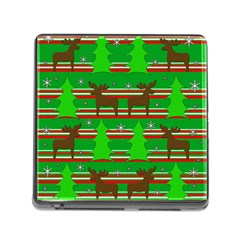 Christmas trees and reindeer pattern Memory Card Reader (Square)