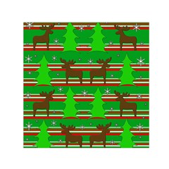 Christmas trees and reindeer pattern Small Satin Scarf (Square)