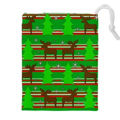Christmas trees and reindeer pattern Drawstring Pouches (XXL)