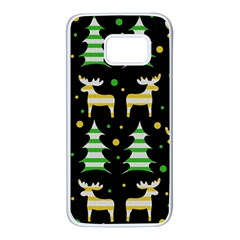 Decorative Xmas reindeer pattern Samsung Galaxy S7 White Seamless Case