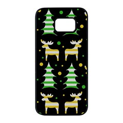 Decorative Xmas reindeer pattern Samsung Galaxy S7 edge Black Seamless Case