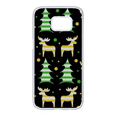 Decorative Xmas reindeer pattern Samsung Galaxy S7 edge White Seamless Case