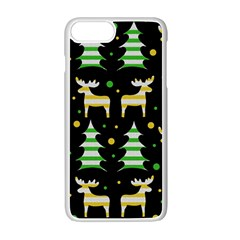 Decorative Xmas Reindeer Pattern Apple Iphone 7 Plus White Seamless Case