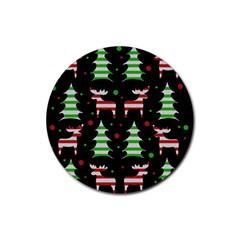 Reindeer decorative pattern Rubber Coaster (Round)
