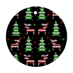 Reindeer decorative pattern Round Ornament (Two Sides)
