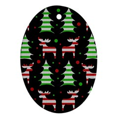 Reindeer decorative pattern Oval Ornament (Two Sides)