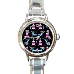 Blue and pink reindeer pattern Round Italian Charm Watch