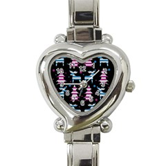Blue and pink reindeer pattern Heart Italian Charm Watch