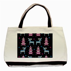 Blue and pink reindeer pattern Basic Tote Bag