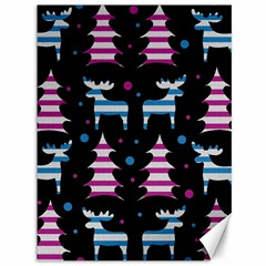 Blue and pink reindeer pattern Canvas 36  x 48