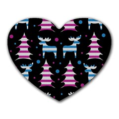 Blue and pink reindeer pattern Heart Mousepads