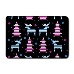Blue and pink reindeer pattern Small Doormat