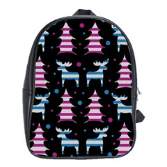 Blue and pink reindeer pattern School Bags(Large)